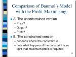 comparison of baumol s model with the profit maximising