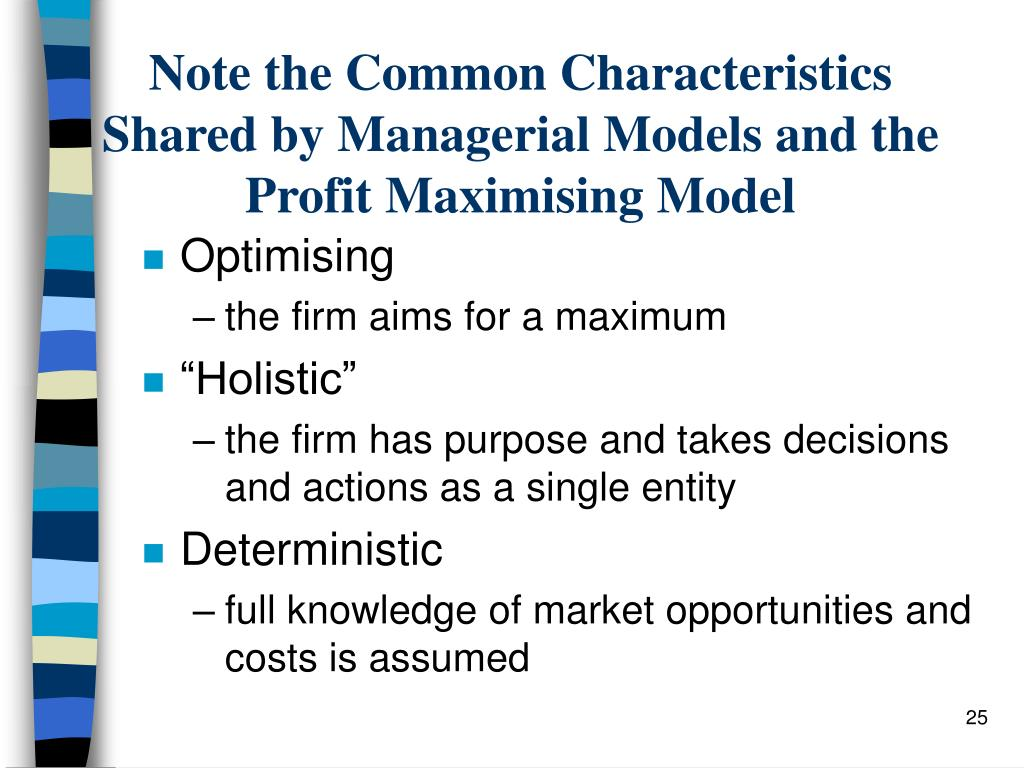 Note the Common Characteristics Shared by Managerial Models and the Profit Maximising Model