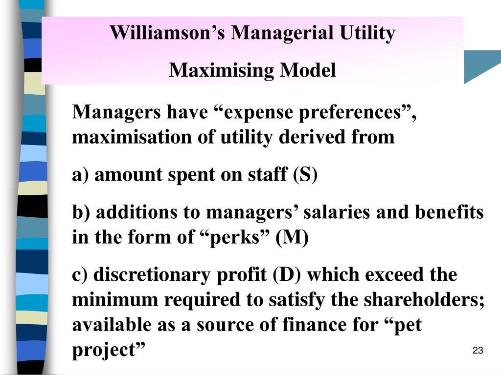 Williamson's Managerial Utility