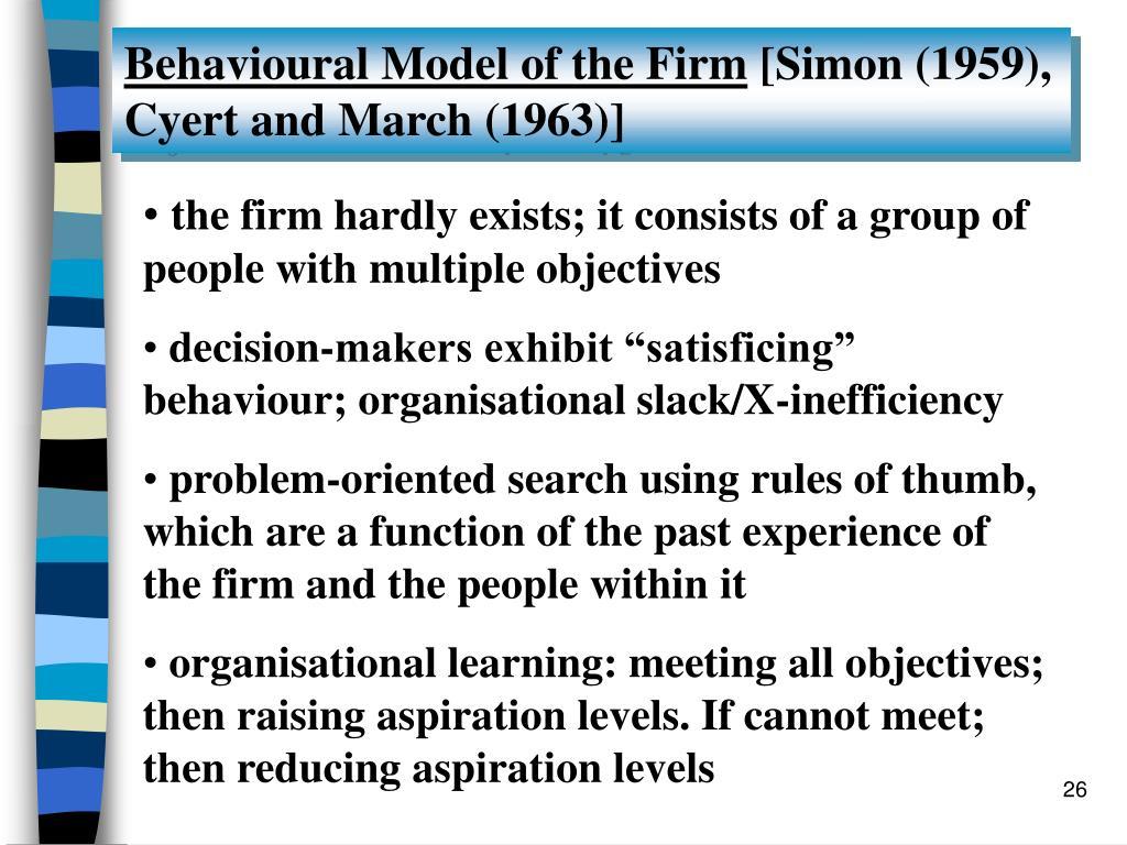 Behavioural Model of the Firm