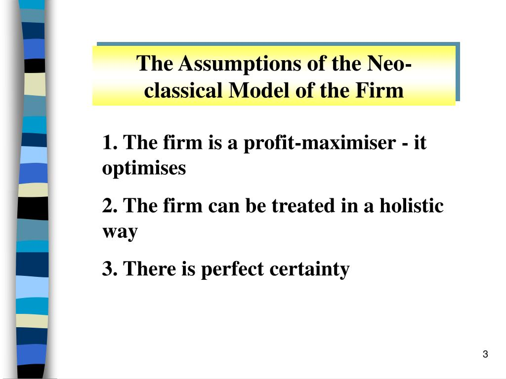 The Assumptions of the Neo-classical Model of the Firm