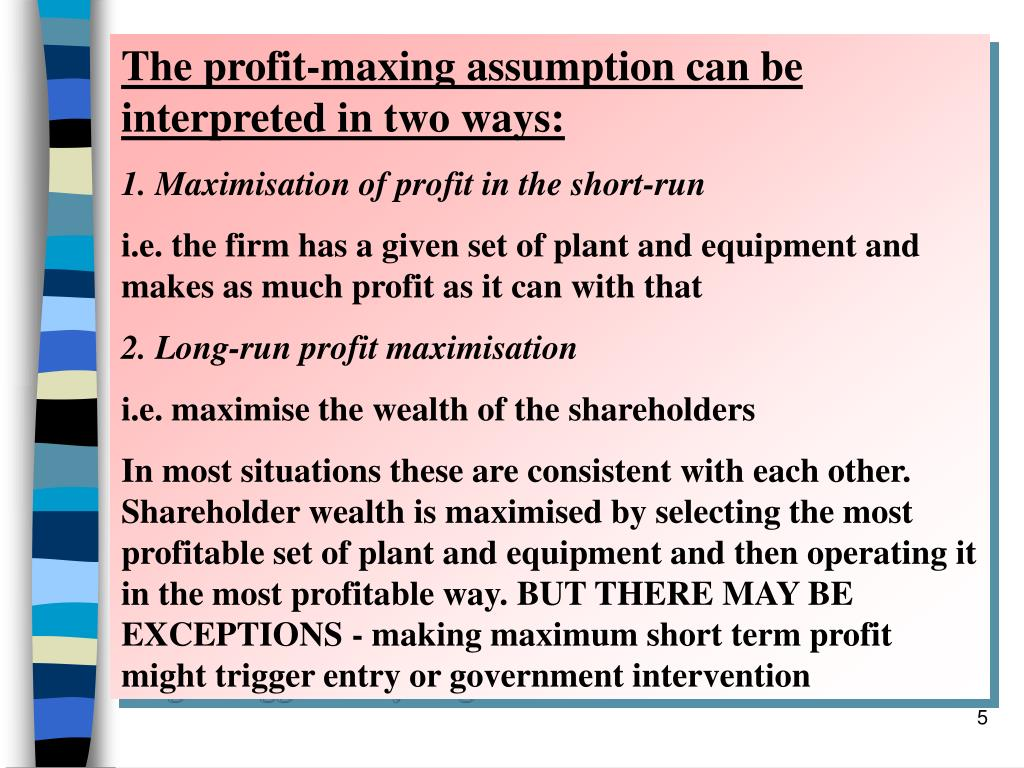 The profit-maxing assumption can be interpreted in two ways:
