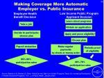 making coverage more automatic employer vs public insurance