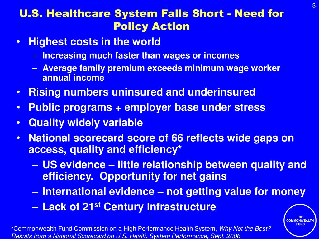 U.S. Healthcare System Falls Short - Need for Policy Action