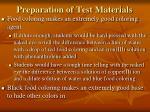 preparation of test materials