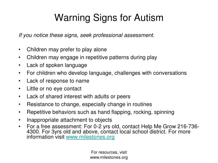 Warning signs for autism
