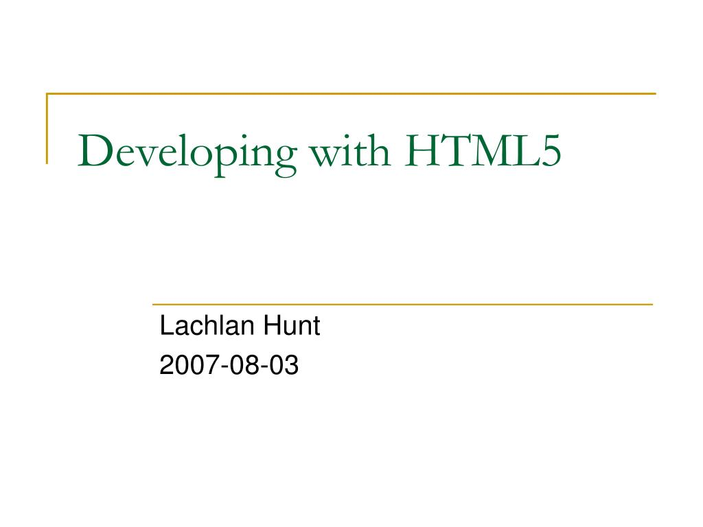 developing with html5 l.