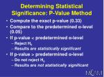 determining statistical significance p value method