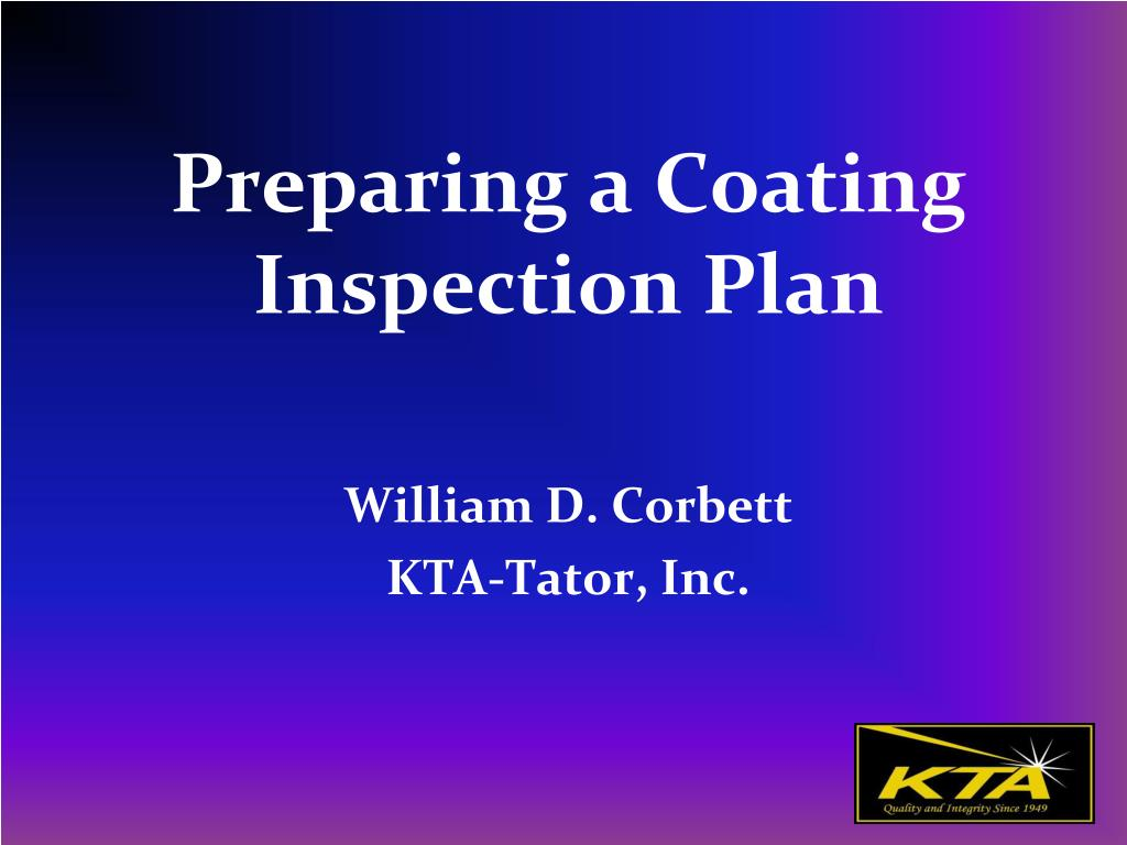 preparing a coating inspection plan l.