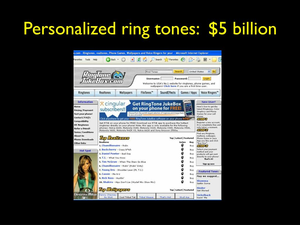 Personalized ring tones:  $5 billion