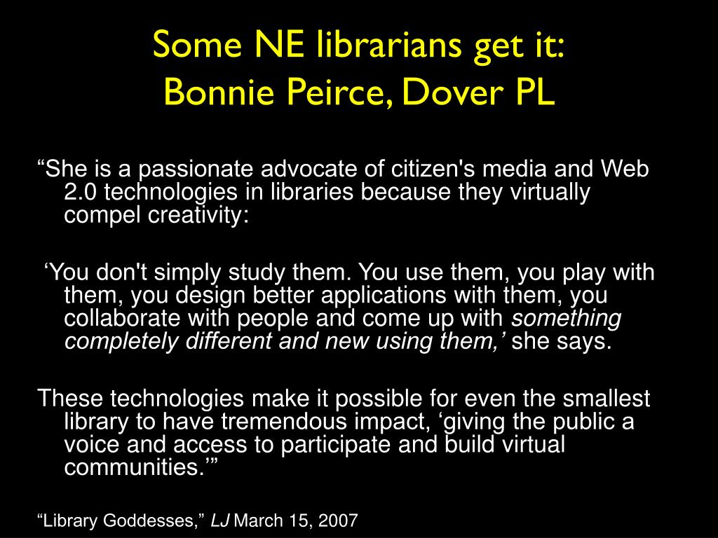 Some NE librarians get it: