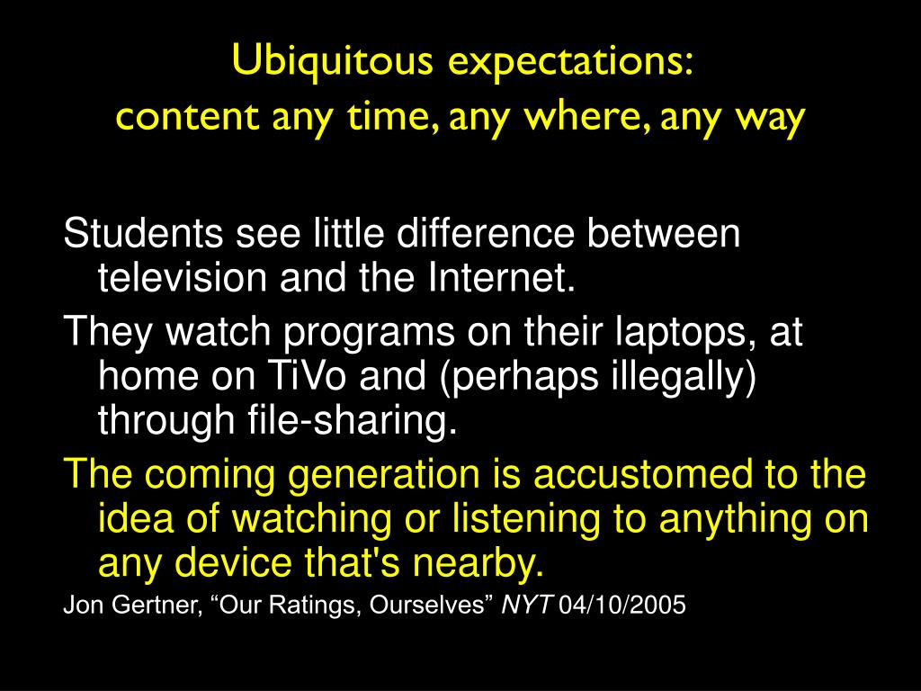 Ubiquitous expectations: