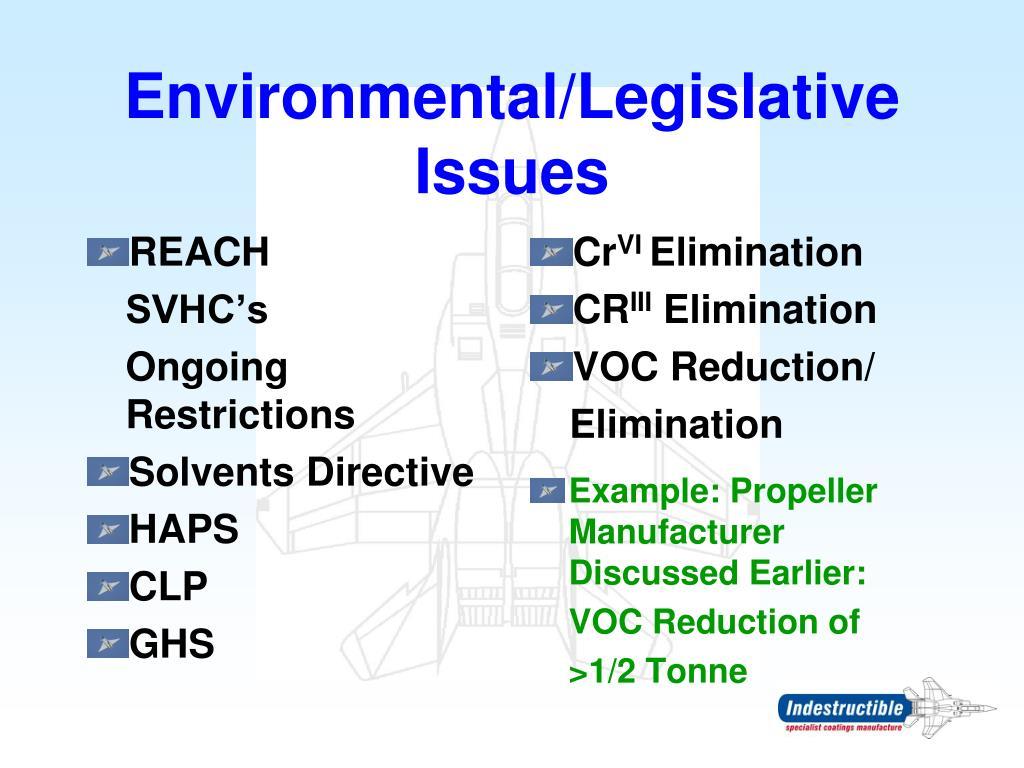 Environmental/Legislative Issues