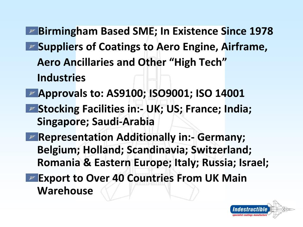 Birmingham Based SME; In Existence Since 1978