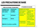 les precautions de base