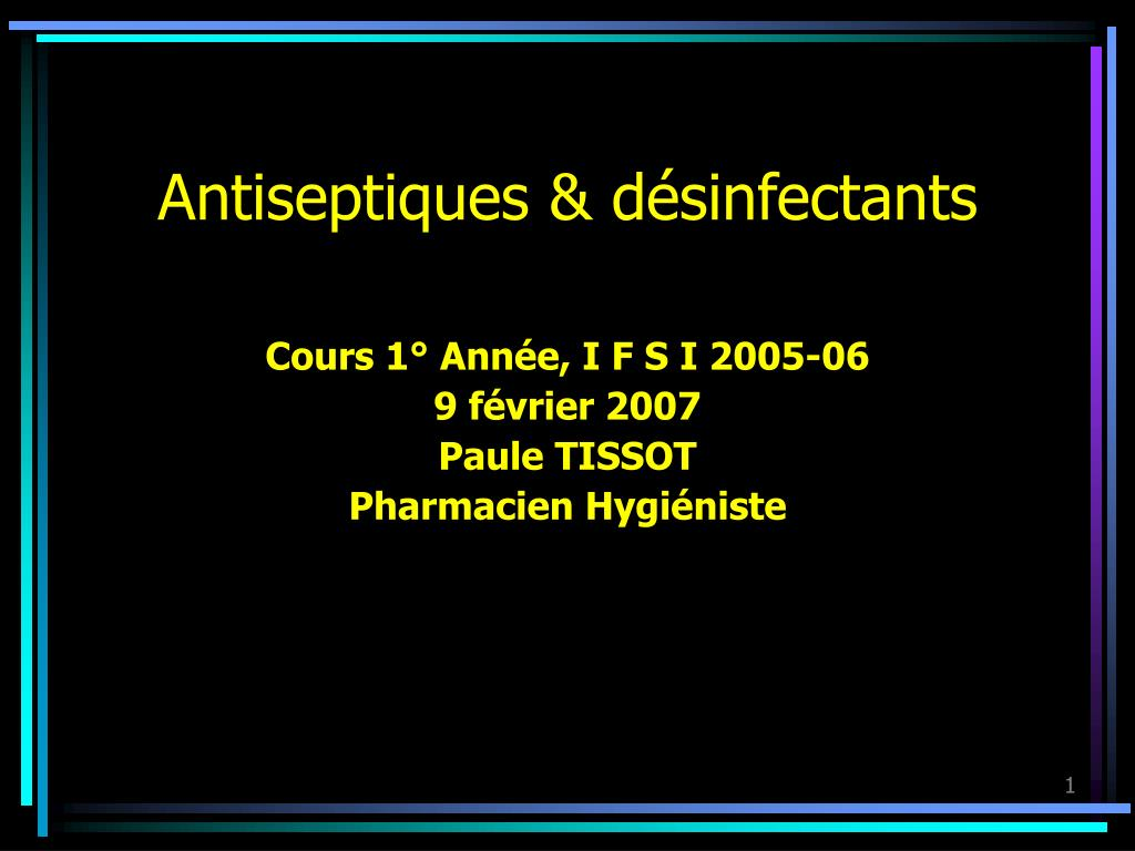 antiseptiques d sinfectants l.
