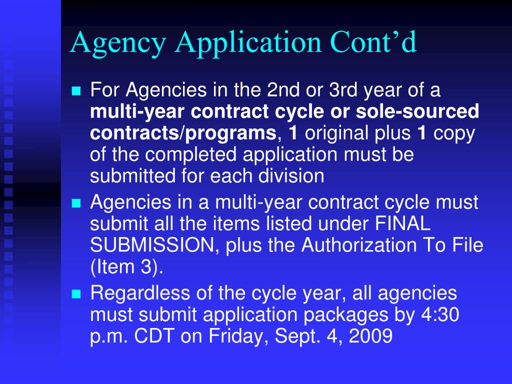 Agency Application Cont'd