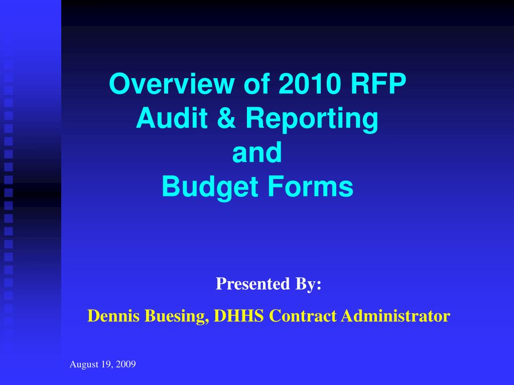 Overview of 2010 RFP