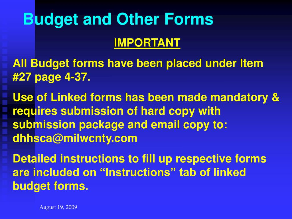 Budget and Other Forms