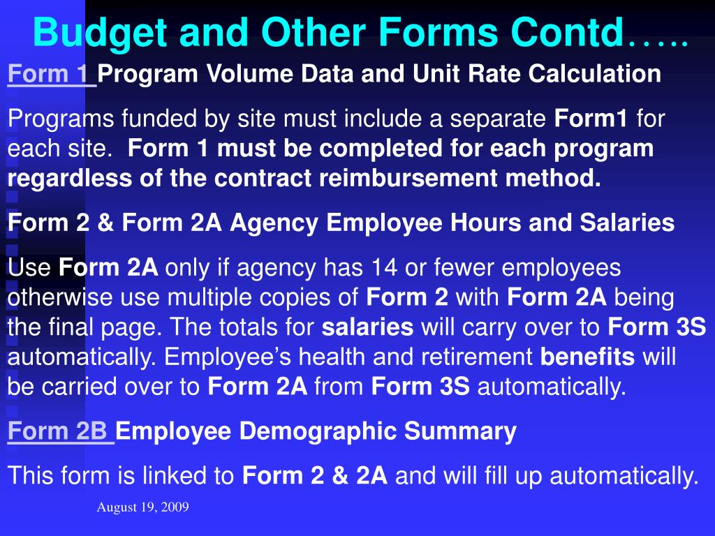 Budget and Other Forms Contd