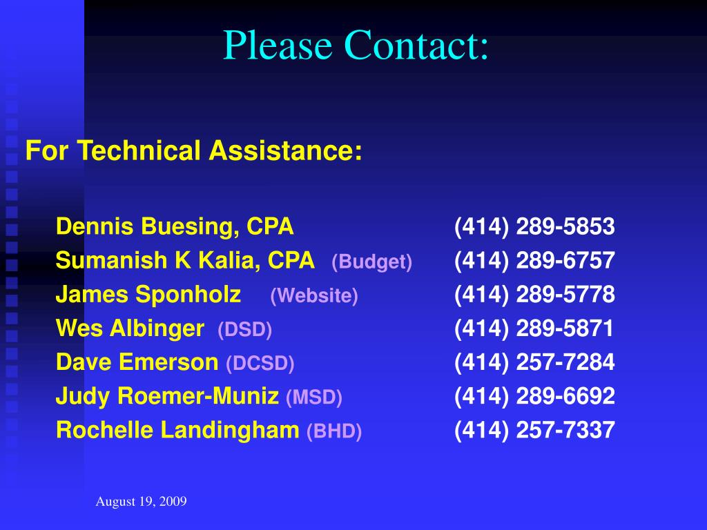Please Contact: