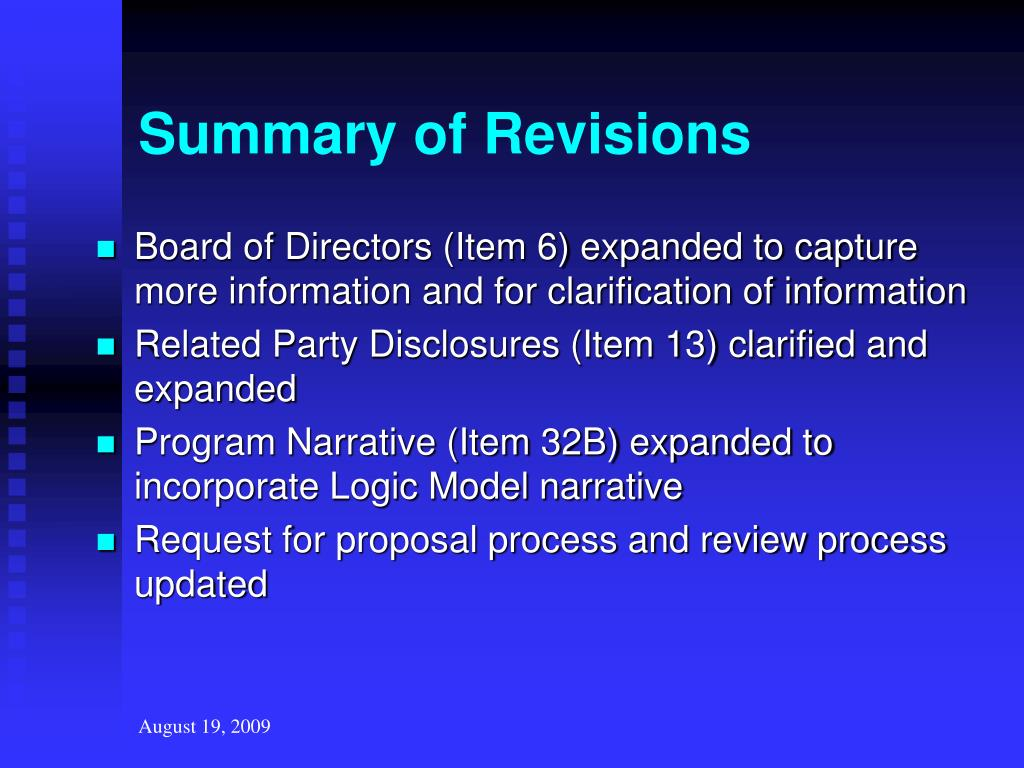 Summary of Revisions