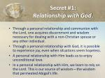 secret 1 relationship with god