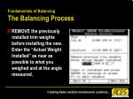 fundamentals of balancing the balancing process50