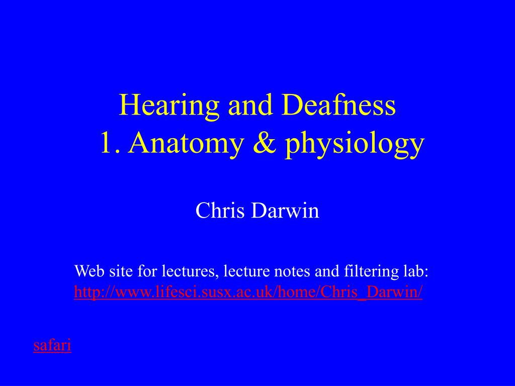 hearing and deafness 1 anatomy physiology l.