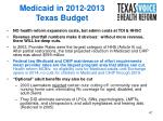 medicaid in 2012 2013 texas budget