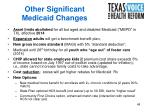 other significant medicaid changes