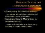 database security and authorization subsystem