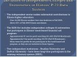 inclusion of independent colleges and universities in illinois p 20 data system