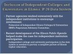 inclusion of independent colleges and universities in illinois p 20 data system11