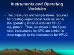 instruments and operating variables