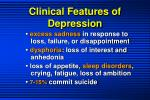 clinical features of depression