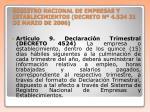 registro nacional de empresas y establecimientos decreto n 4 524 21 de marzo de 2006