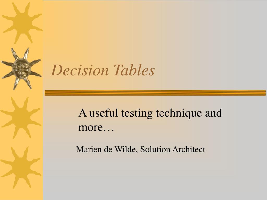 decision tables l.