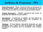 atributos de programas ppa