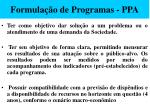 formula o de programas ppa