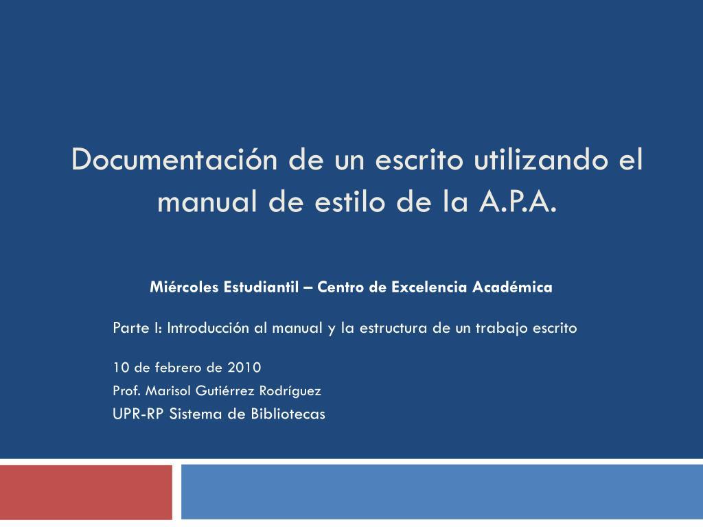 documentaci n de un escrito utilizando el manual de estilo de la a p a l.