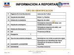 informacion a reportar