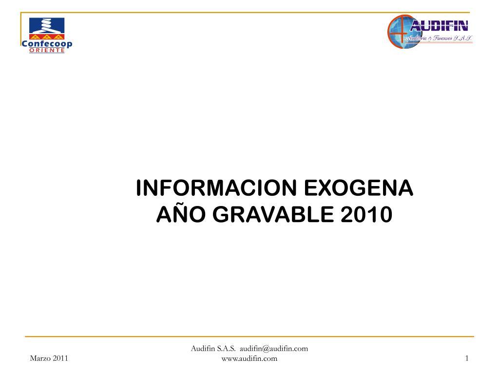 informacion exogena a o gravable 2010 l.