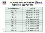 plazos para reportar art 631 y 623 pj y pn
