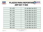 plazos para reportar art 631 y 623