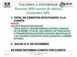 valores a informar formato 1019 cuentas de ahorro corrientes afc