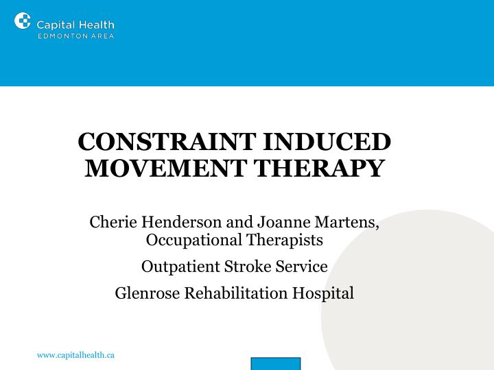 constraint induced movement therapy cimt n.