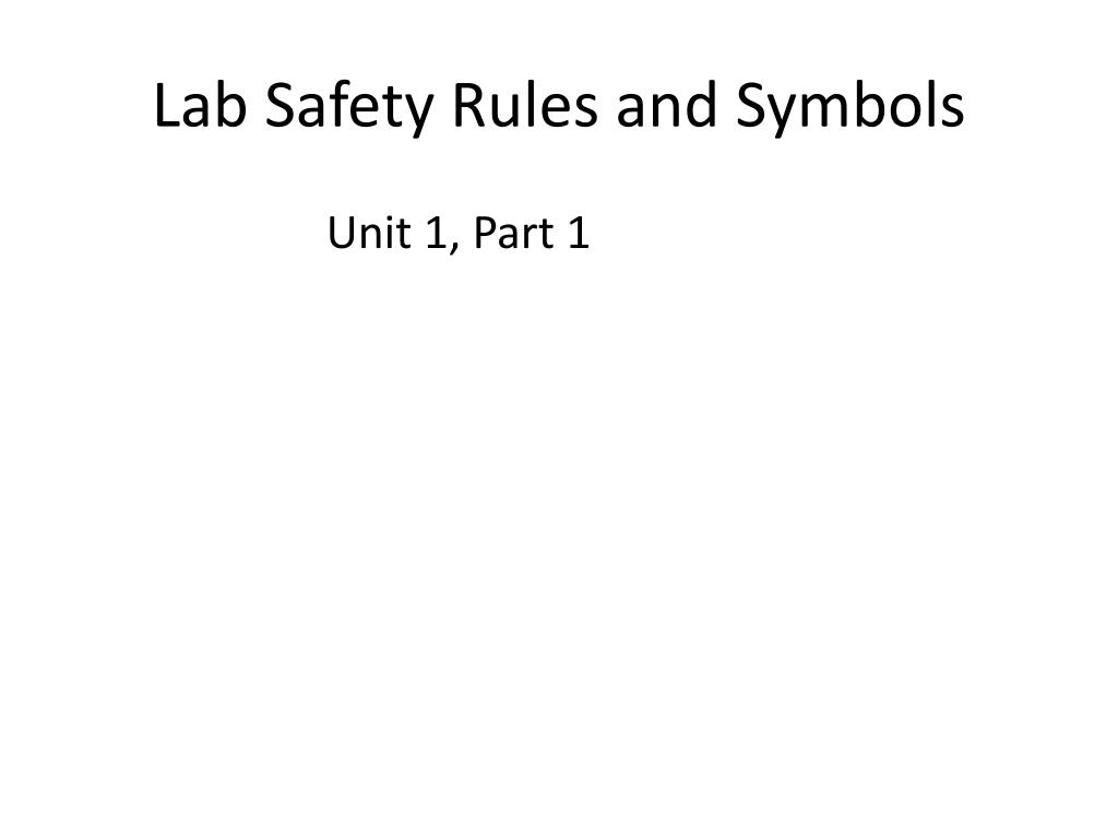 Lab Safety Rules and Symbols