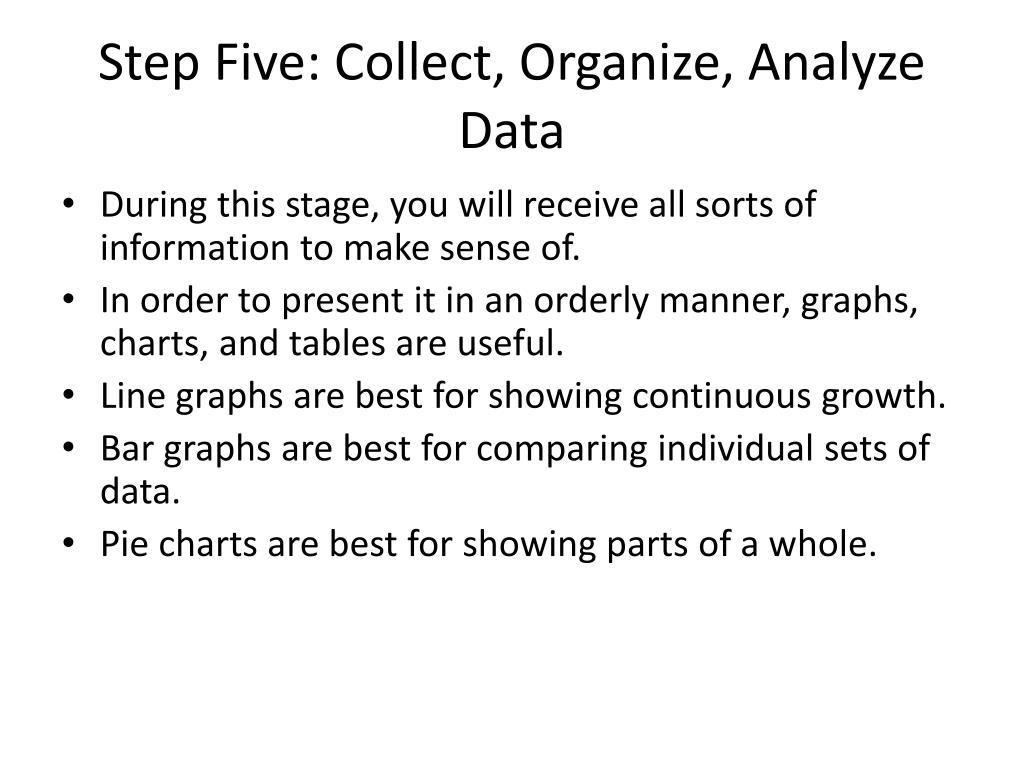 Step Five: Collect, Organize, Analyze Data