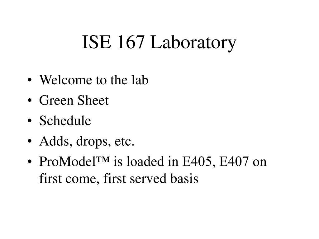 ise 167 laboratory l.
